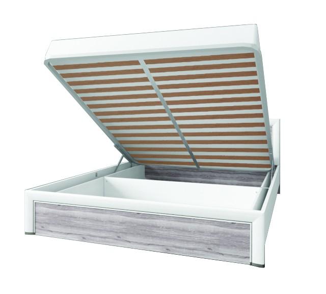 OLIVIA postel 160 s úložným prostorem krém / dub ancona